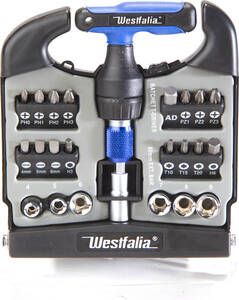 Westfalia-Das Spezialversandhaus T - Ratschen Set 24 tlg. mit Bits und N�ssen in praktischer Box Westfalia